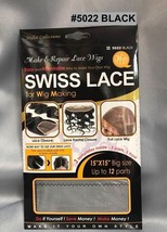 """QFITT MAKE & REPAIR LACE WIGS SWISS LACE FOR WIG MAKING # 5022 BLACK  15"""" X 15"""""""