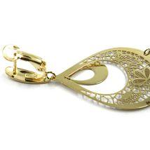 18K YELLOW GOLD PENDANT EARRINGS, 5.5 cm DROP WATERFALL PENDANTS, WORKED FLOWERS image 3