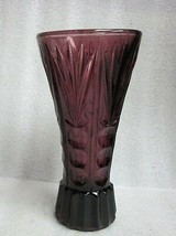 "Old Amethyst Glass Vase Signed ""FOREIGN"" made in Occupied Japan Pressed ... - $9.85"
