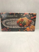 MIKASA Strawberry Canape tray 16 inch clear embossed glass serving dinin... - $108.89