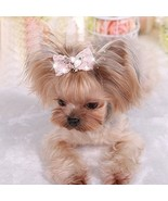 Bling Rhinestone Luxury Pet Puppy Dog Cat Hairpin Hair Bows Tie Dog Lace... - $17.87