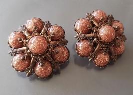 Vintage Large Goldstone Flowers Clip ons Earrings Runway Statement - $19.99