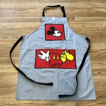 New Disney Parks Mickey Mouse Body Parts Gray Apron Kitchen Chef Cooking Pockets - $39.99