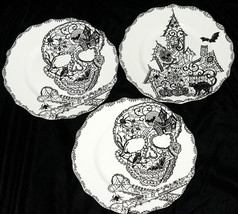 222 Fifth Wiccan Lace * 3 SALAD PLATES * Skulls & Haunted House Hallowee... - $29.99