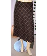 LANDS' END Dark Brown Windowpane Plaid Lightweight A-line Dress Skirt (2... - $19.50