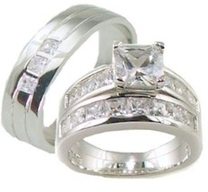 His and Hers Wedding Rings  AAA Quality Cz  Wedding Ring Set 925 Sterling Silver - $59.99