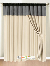 4P Clover Trellis Floral Curtain Set Silver Gray Black Beige Valance Sheer Liner - $40.89