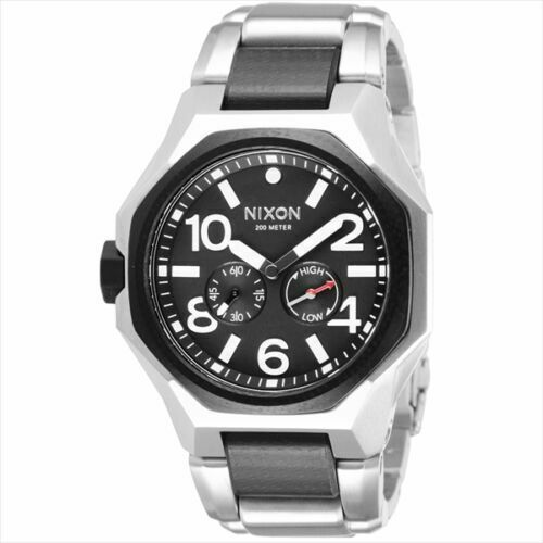 Nixon A397-000 The Tangent Black & Silver Tone Stainless Steel Men's Watch $500