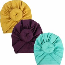 Fairoyal 3Pcs Baby Infant Headbands Bohemian Head Knot Wrap Hat 0-6M S2 - $11.91