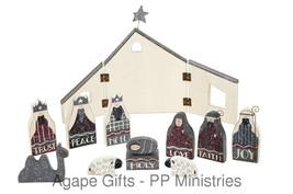Primitives By Kathy Wood Nativity Peace Joy Love Noel Trust & More 12pc Set - $39.55