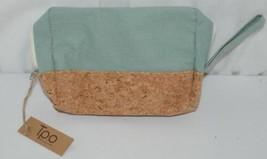 TPO Brand MP0005MT Hope Tan Cork Seafoam Green Canvas Zipper Travel Makeup Pouch image 2