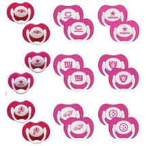 NFL Pink Pacifiers Set of 2 with Solid Shield -Select- Team Below - €9,33 EUR