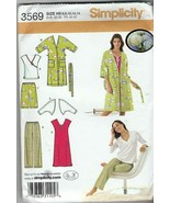 Simplicity 3569 Misses Nightgown, Top, Pants, Shorts, Robe and Shrug Siz... - $14.84