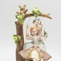 Antique Capodimonte K. Tsubota Artist Signed Boy & Girl on Swing Figurine - $183.13