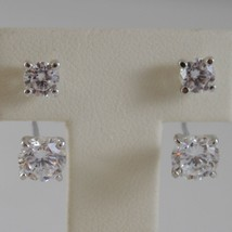 18K WHITE GOLD PENDANT SOLITAIRE EARRINGS ALTERNATE ZIRCONIA 3 CT, MADE IN ITALY image 1