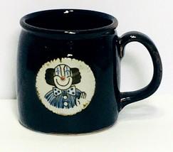 Vintage Ceramic Otagiri Clown Medallion Darl Brown Glaze Coffee Mug Circus - $39.99