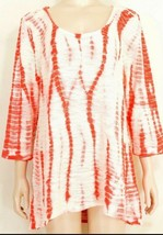 XCVI top tunic SZ XL NWT cream red cotton blend hi lo hem - $29.69