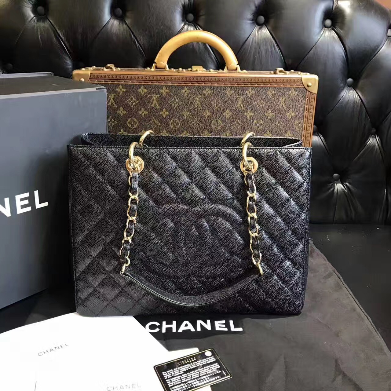 45ac8c3c6574 100% AUTHENTIC CHANEL CAVIAR GST GRAND SHOPPING TOTE BAG BLACK GHW ...