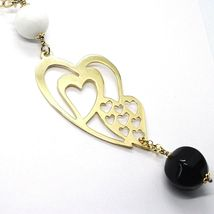 SILVER 925 NECKLACE, YELLOW, ONYX, AGATE WHITE, DOUBLE HEART, PENDANT image 4