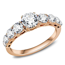 HCJ ROSE GOLD TONE STAINLESS STEEL ROUND CUT 7 CZ ENGAGEMENT RING SIZE 8, 9 - $13.94