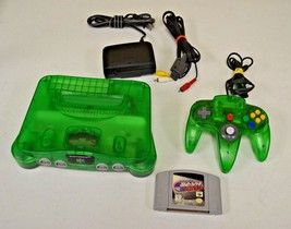 Nintendo 64 N64 Jungle Green Console System w/ Controller TESTED Wayne G... - $98.99