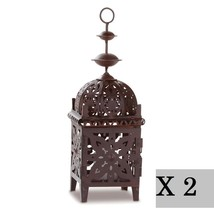 2 Moroccan Bird Cage Candle Lantern Brown Metal Hanging Tabletop Gallery... - $19.23