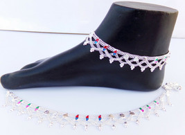 ANKLET BRACELET 22k SILVER PLATED PAYAL SET BOLLYWOOD Fashion INDIAN JEW... - $17.58