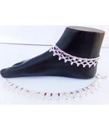 ANKLET BRACELET 22k SILVER PLATED PAYAL SET BOLLYWOOD Fashion INDIAN JEW... - $17.58