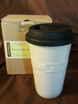 Longaberger Pottery Woven Traditions Ivory Travel Cup Mug With Silicone Lid New - $19.95