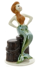 Hagen-Renaker Miniature Ceramic Figurine Mermaid Sitting on Piling