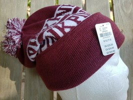 Victorias Secret Beanie Pom-Pom Hat Womens One Size Burgundy PINK Logo Warm - $16.81