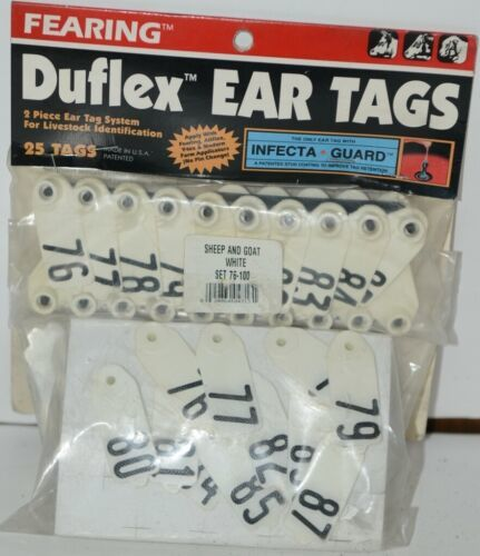 Fearing Duflex Ear Tags 2 Pc System Livestock ID Sheep Goat White Set 76 to 100