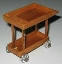 1:12 Tea/Spirits Trolley two-tiered solid CHERRY artisan-signed OOAK - £16.38 GBP