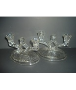 Pair McKee Rock Crystal Double Candleholders - $26.24