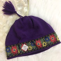 Vintage Merkley Headgear 100% Wool Purple & Floral Tassel Winter Hat Can... - $11.84