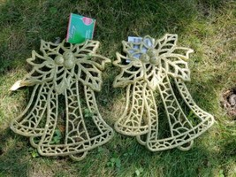 2 X Large Christmas Holiday Hanging Gold Glitter Ornamnets  Christmas Bells - $9.85
