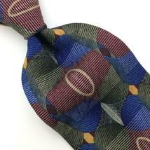 Screenplay Tie Martin Wong Geometric Overlay Silk Necktie Blue/Grn/Olive... - $19.79