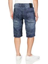 LR Scoop Men's Moto Quilted Distressed Painted Skinny Slim Fit Jean Denim Shorts image 15