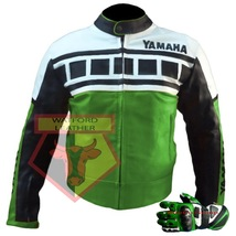 Yamaha Green Motorbike Motorcycle Cowhide Leather Jacket With Free Gloves - $214.99