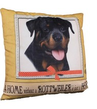 Rottweiler Throw Pillow A Home Without is Just a House Dog New Beige Yellow - $19.79