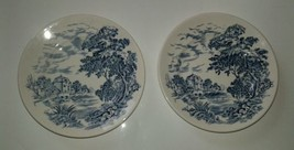 2 Pieces of Vintage Small Wedgwood Enoch  CountrysideBlue Cake Plates - $9.87