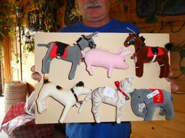 Steiff donkey horse elephant dog cat pig set of 6  stuffed animals Germa... - $379.05