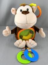 "2012 Animal Planet Plush Monkey Stroller Baby Toy 9"" Crinkle Rattle Teether - $9.73"