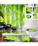 Bamboo Stone Non-Slip Rug Toilet Lid Cover Bath Mat Shower Curtain With ... - $21.59