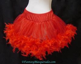 Red Layered Chiffon Burlesque Feather Trim Mini Skirt - $59.99