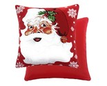 RED FATHER CHRISTMAS SANTA HOLLY BELL TAPESTRY CHENILLE THICK CUSHION COVER 17""