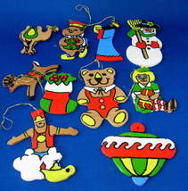 Ornaments Set of 10 Hand Painted Wood Bear Doll Genie 1960s Artisan USA - $20.00