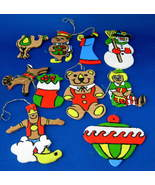1960s wood ornaments 10 handpainted artisan a thumbtall