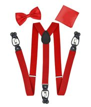 Berlioni Italy Formal Tuxedo Bow Tie Convertible Suspenders Hanky Gift Box Set image 13