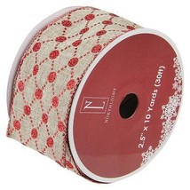 """Northlight Connecting The Dots Red White Diamond Wired Xmas Ribbon 2.5""""x... - $185,09 MXN"""